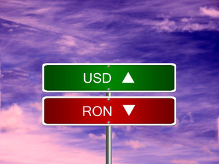 RON USD Forex Sign