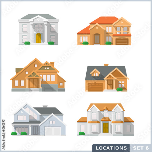 House icon set 2. Colourful flat illustrations