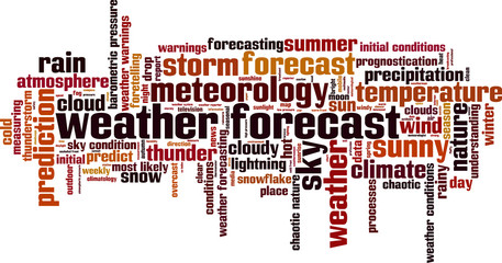 Weather forecast word cloud concept. Vector illustration