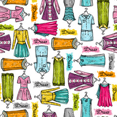 Vector pattern with hand drawn and colorful dresses for women