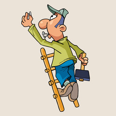 cartoon man standing on a ladder with a hammer and hammer nails