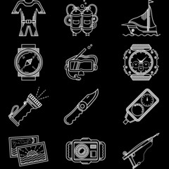White line icons for diving