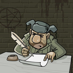 cartoon male inmate writes a pen on paper