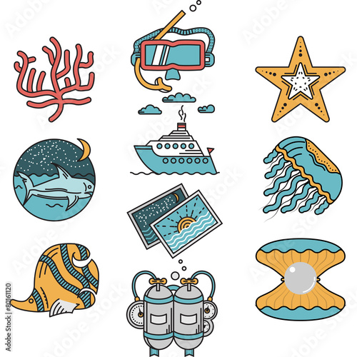 Sea leisure flat design icons - 80161120