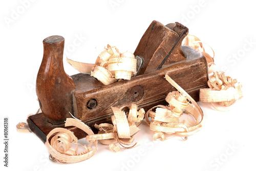 Leinwanddruck Bild alter Holzhobel isoliert