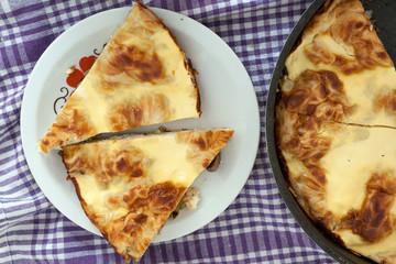 Slices of mushroom pie