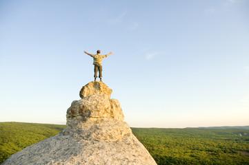 Winner on the mountain top.
