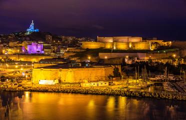 Night view of Fort St. Nicolas and Notre-Dame-de-la-Garde in Mar