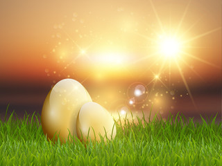 Golden Easter eggs in grass
