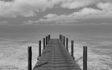 Black and white 3D image of a jetty landscape