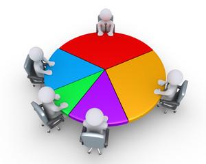 Businessmen around pie chart