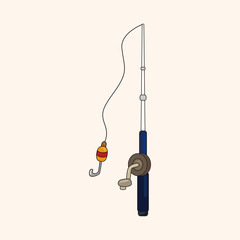 Fishing rods theme elements