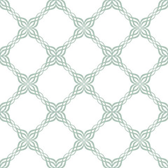 seamless ornate symmetric green and white tile pattern