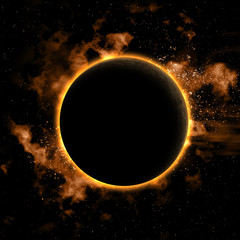 Space background with eclipsed planet