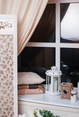Beautiful decor in beige tones near the window