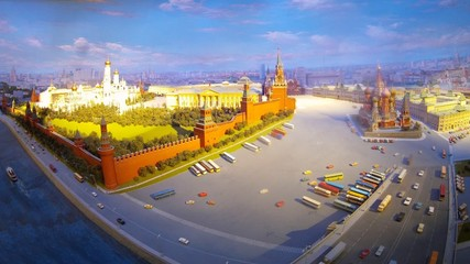 Classical view of Kremlin and Saint Basil Church.
