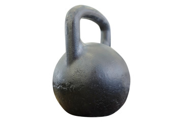 Large black kettlebells in weights room at the gym