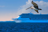 Cruise ship closeup with pelican in foreground