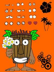 tiki hawaiian mask cartoon expression set