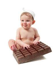 little kid with chocolate