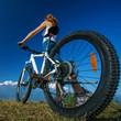 Biker-girl in Himalaya mountains, Anapurna region