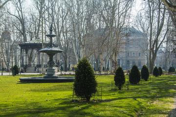 Fountain and pavilion in park Zrinjevac in center of Zagreb