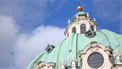 Dome of St. Charles church at day in Vienna, Austria