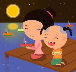 Cartoon characters Loy krathong festival 1