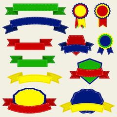 Colorful Ribbons And Label , Vector Illustration