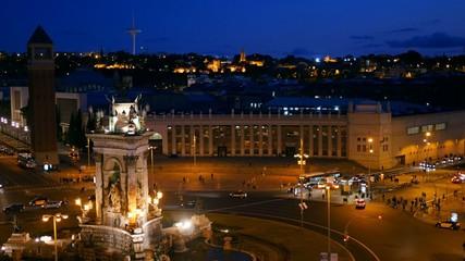 Time-lapse of Placa De Espanya. Barcelona, Spain