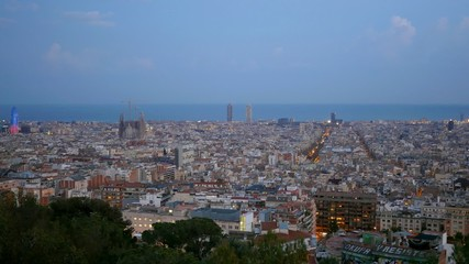 Panorama of Barcelona. After sunset
