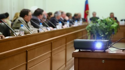 Projector at Round table Elections in Moscow