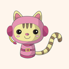 Space cat cartoon theme elements