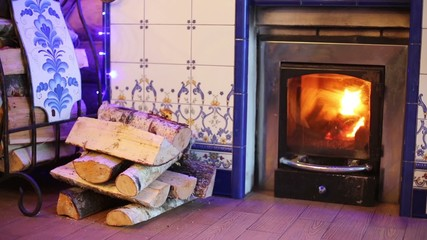 Fireplace with burning flame and stack of birch firewood.