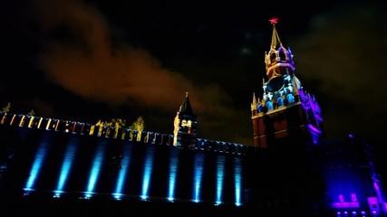 Spasskaya tower and Kremlin wall with illumination at night
