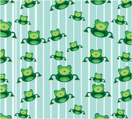 Beautiful seamless pattern with green frog on blue background