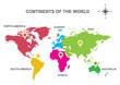Постер, плакат: continents of the world Asia Europe Australia America