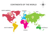 continents of the world, Asia, Europe, Australia, America,