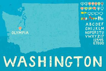 Map of Washington with icons