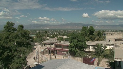 Haiti earthquake-view of haiti-people and mountains