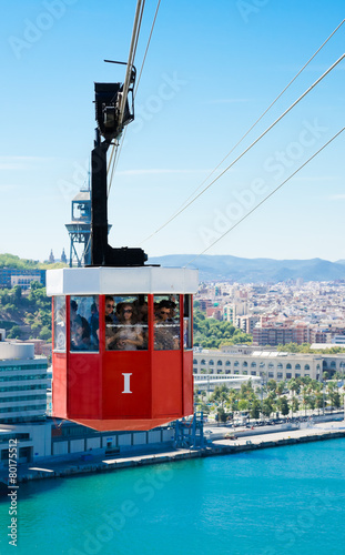 Cablecar over the port in Barcelona, Spain - 80175512