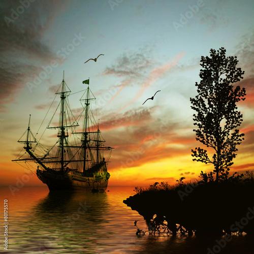 Sailboat against beautiful sunset landscape - 80175570