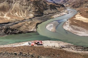 Confluence of Zanskar and Indus rivers - Leh, Ladakh, India