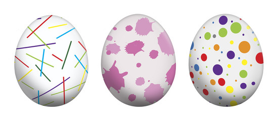 easter color eggswhite background