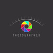 Abstract eye of the photographer logo, aperture of the camera - 80177129