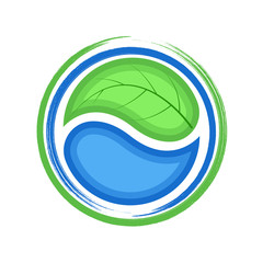 Eco logo, green leaf and blue drop water, ecology icon