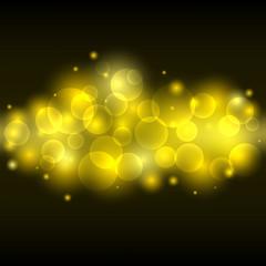 Blurred yellow light, lens gold bokeh background