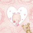 Baby shower greeting card.Baby girl with teddy - 80178723