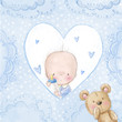 Baby shower greeting card.Baby boy with teddy - 80178731