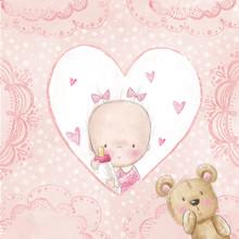 Baby shower powitanie card.Baby dziewczynka z misiem